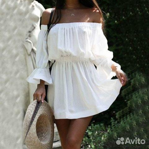 059f99eee85 Белое платье с открытыми плечами