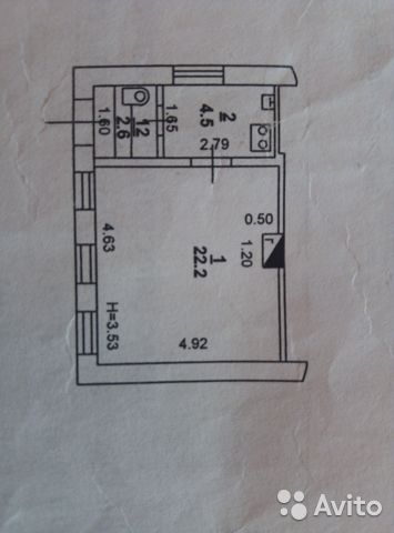 1-к квартира, 29.9 м², 1/1 эт. 89001233412 купить 1