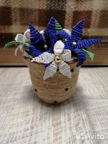 Горшочек с цветами из бисера