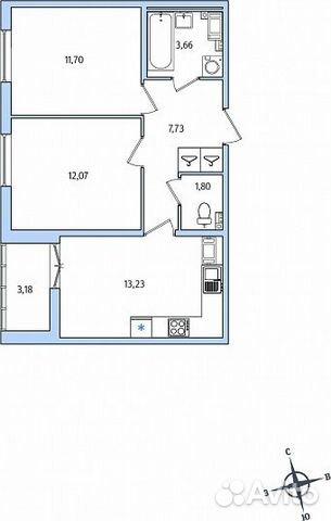 2-к квартира, 51.8 м², 2/10 эт.
