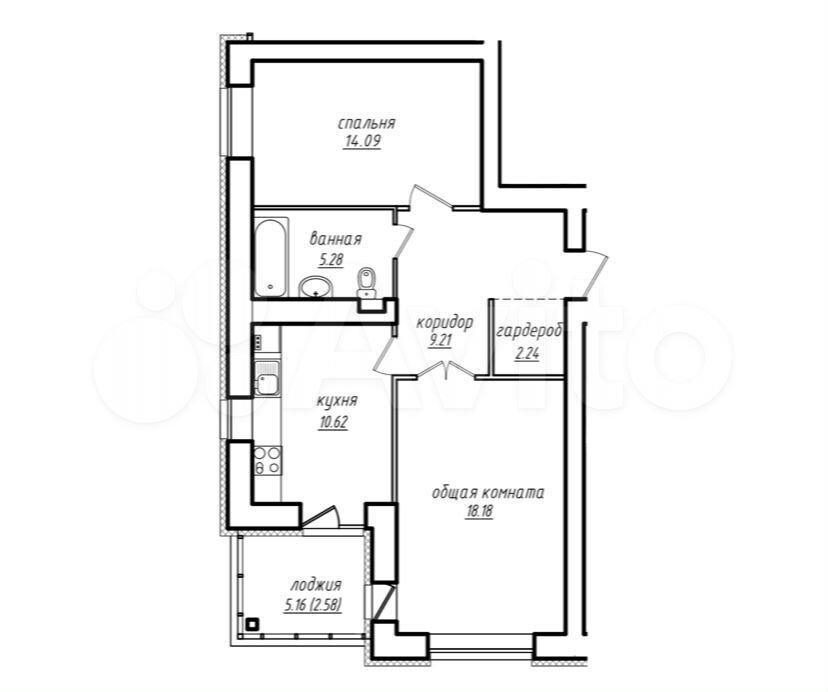 2-к квартира, 62 м², 4/8 эт.