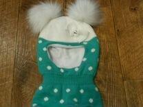 Теплая шапка шлем на девочку 3-5 лет новая