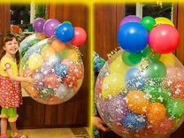 Цветы,игрушки в корзине на воздушном шаре