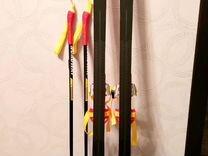 Детские лыжи с палками, 110см