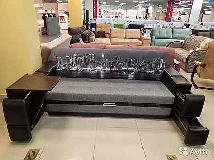 Диван Даллас со столиком и ящиками в подлокотниках