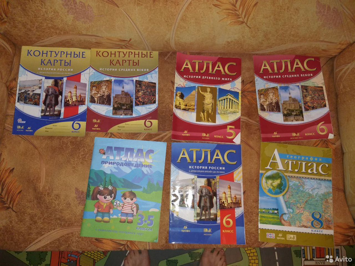 Учебники, атласы и решебники за разные классы